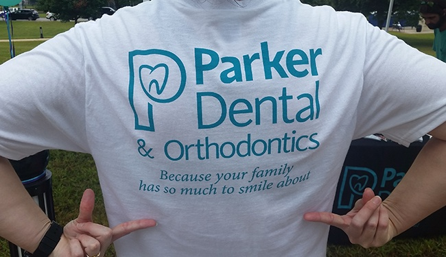 team member in parker dental shirt