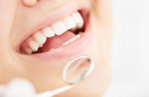 A person undergoing a dental exam.